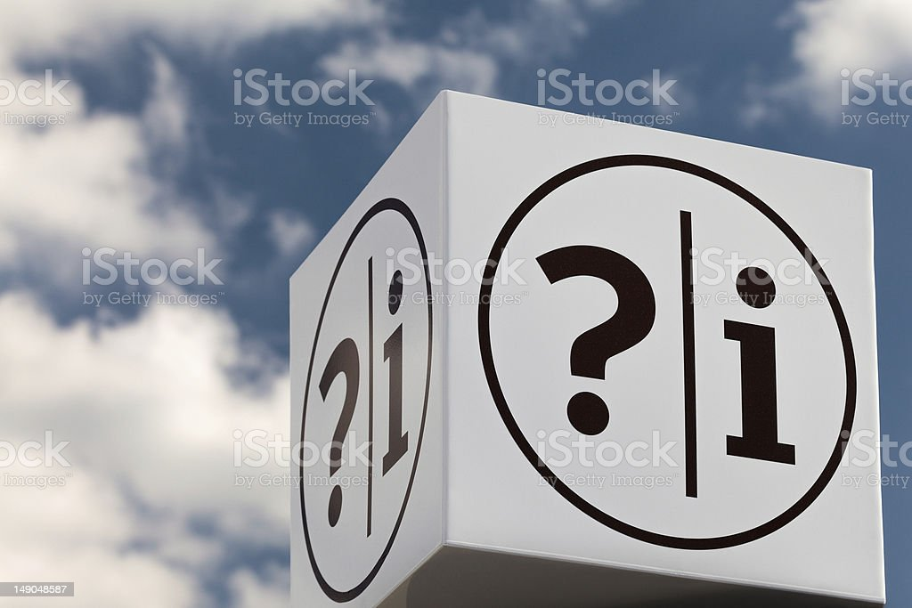 White cube shaped notice sign with question and exclamation mark royalty-free stock photo