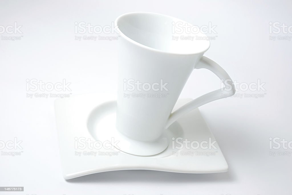 White cup and plate royalty-free stock photo