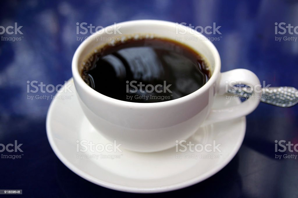 White Cup And Saucer Of Black Coffee royalty-free stock photo