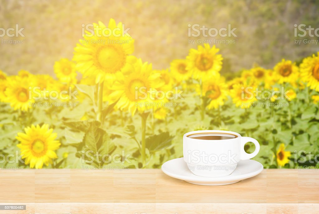 white cup coffee on wood desk and sunflowers background stock photo