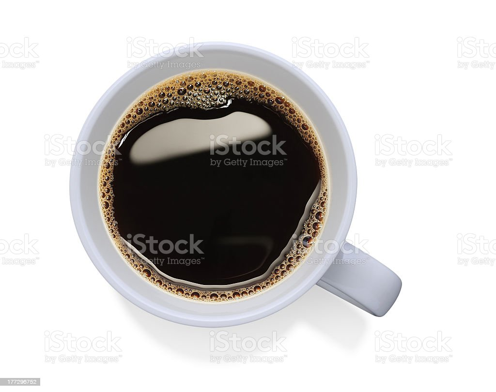 White cup filled with black coffee stock photo