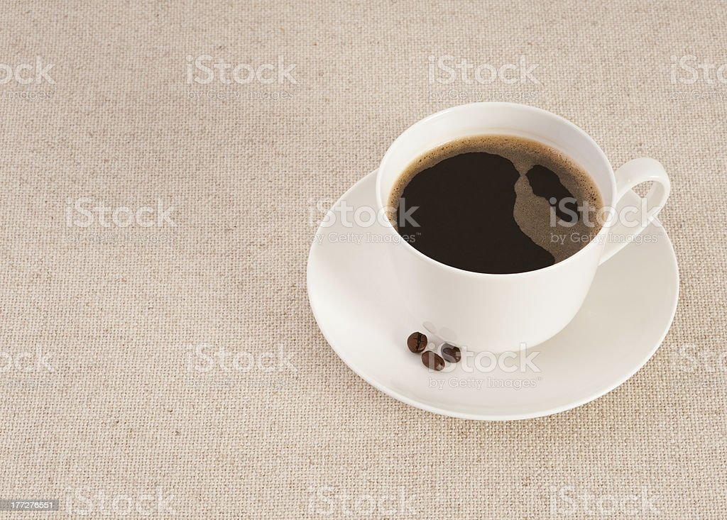 White cup filled with fresh black coffee royalty-free stock photo