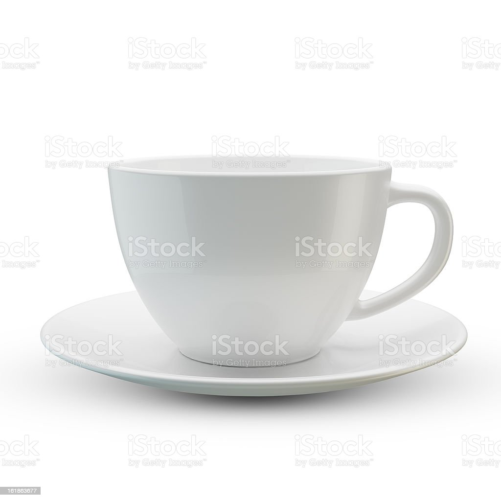 White cup isolated stock photo
