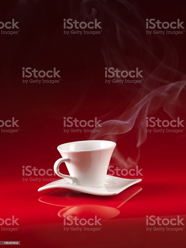 white cup of coffee on red background royalty-free stock photo