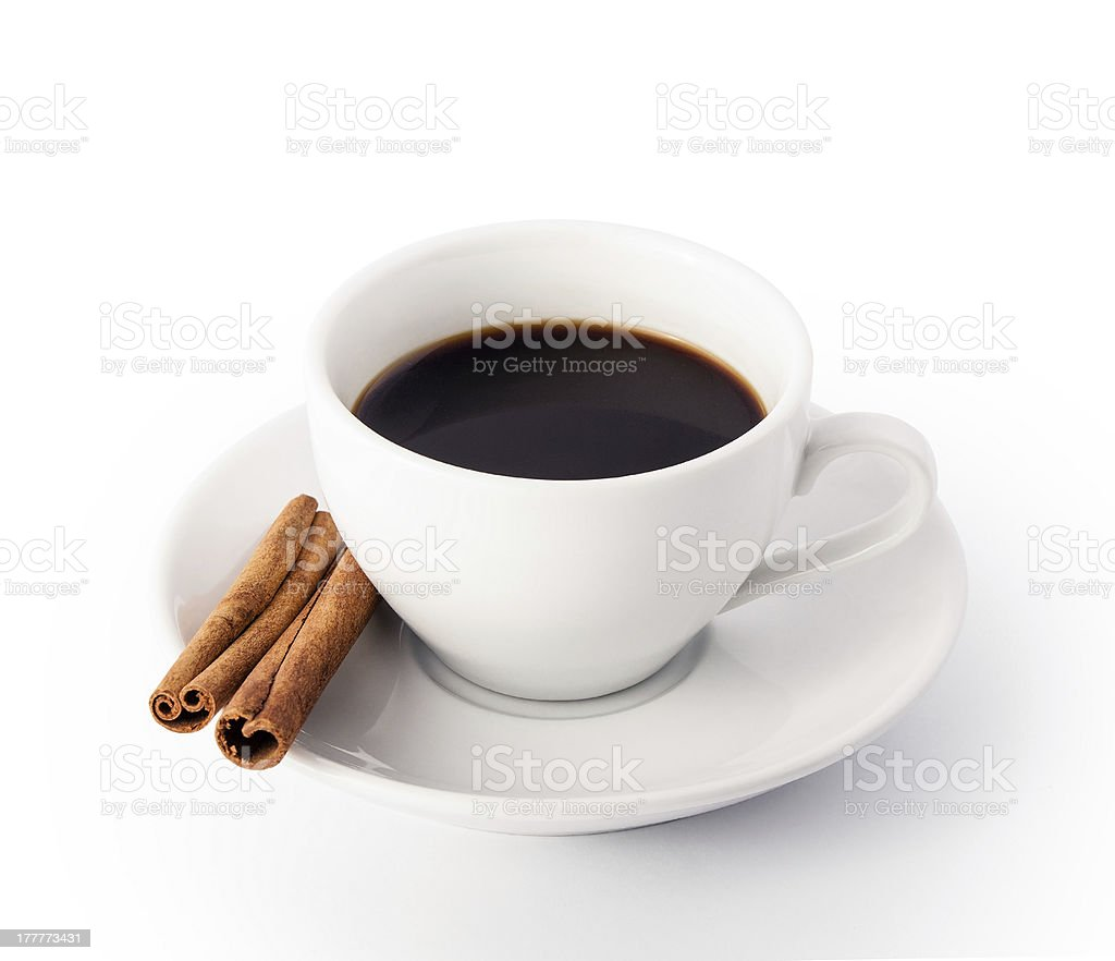 White cup of coffee with cinnamon royalty-free stock photo