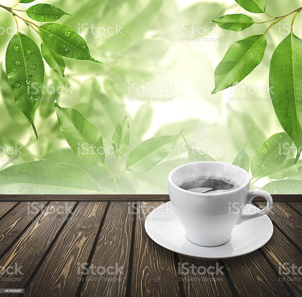 White cup of coffee with framing green leaves royalty-free stock photo