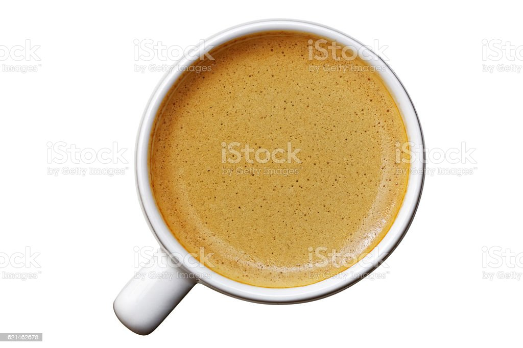 White cup of espresso on white stock photo