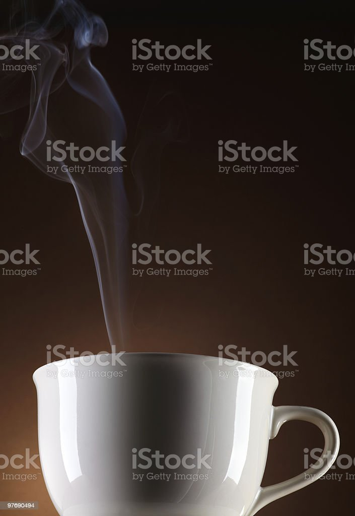 white cup steaming royalty-free stock photo