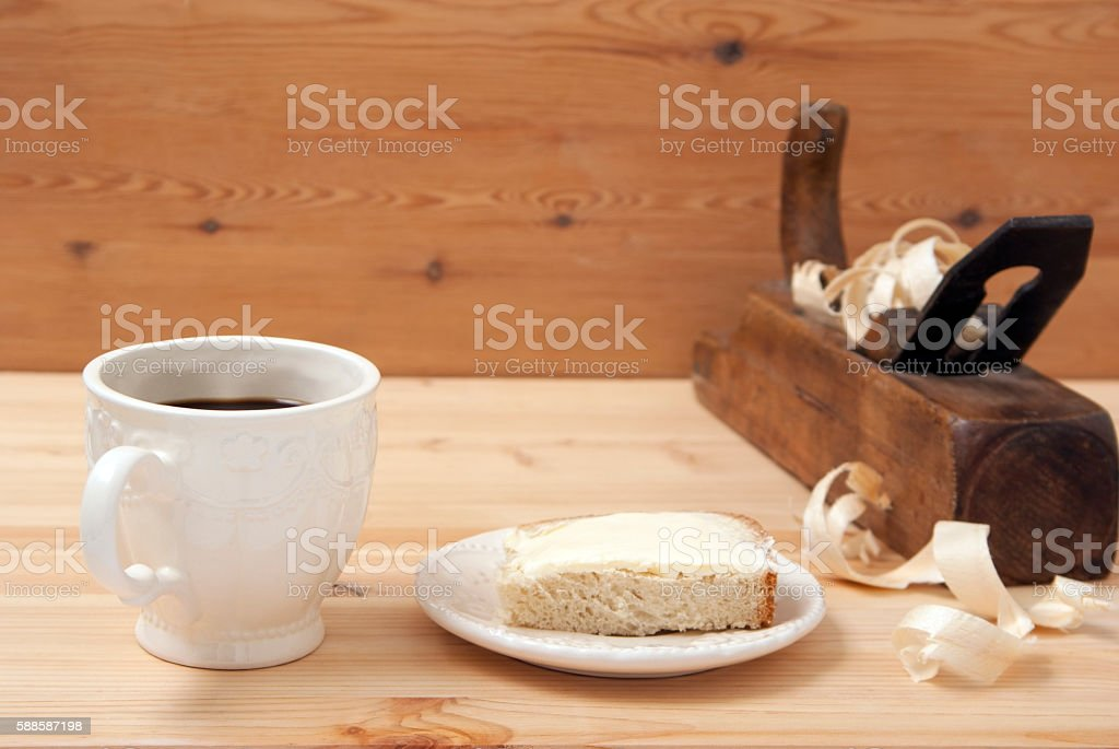 White cup with coffee sandwich royalty-free stock photo