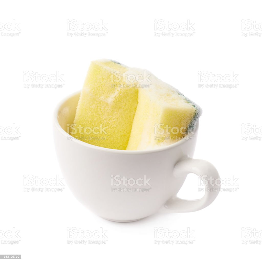White cup with sponge inside stock photo