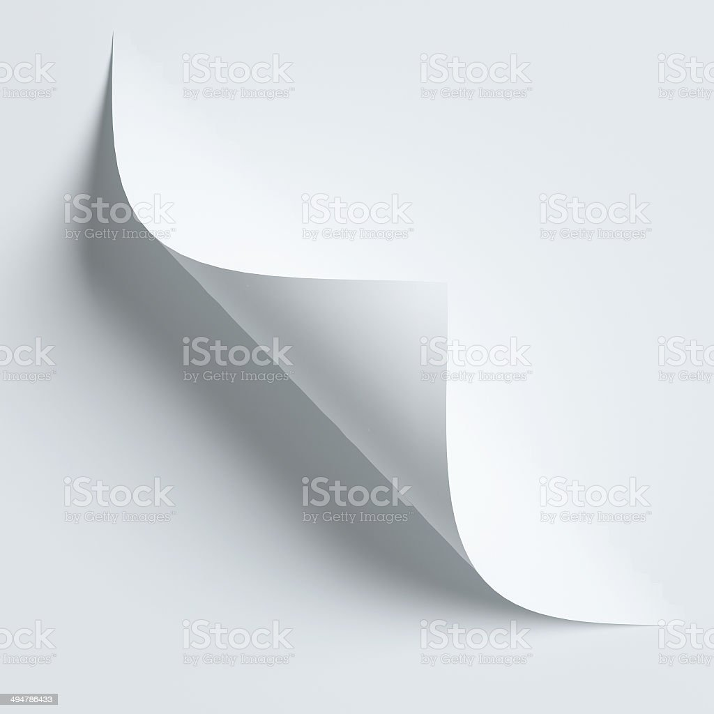 White curled paper corner isolated on white stock photo
