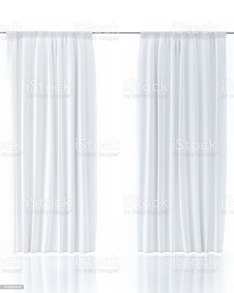 White Curtain Isolated On White stock photo