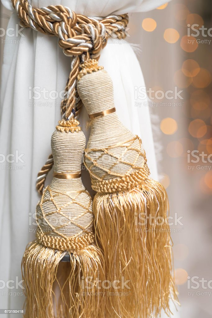 White curtain with an ornament in the modern house with bokeh background stock photo