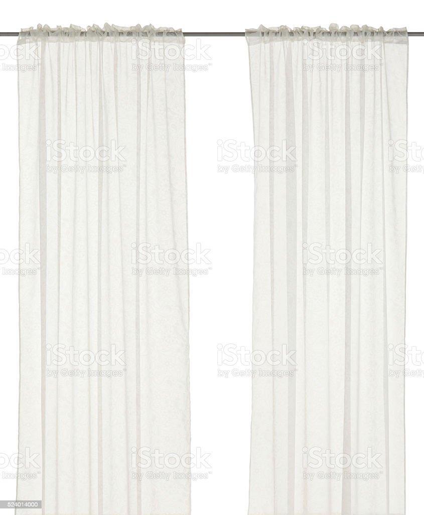 White  curtain with floral pattern. stock photo