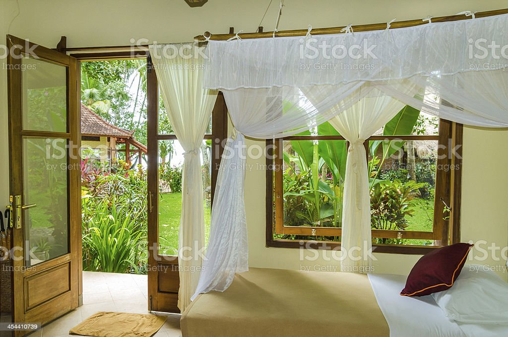 white curtains at a window and view to jungle royalty-free stock photo