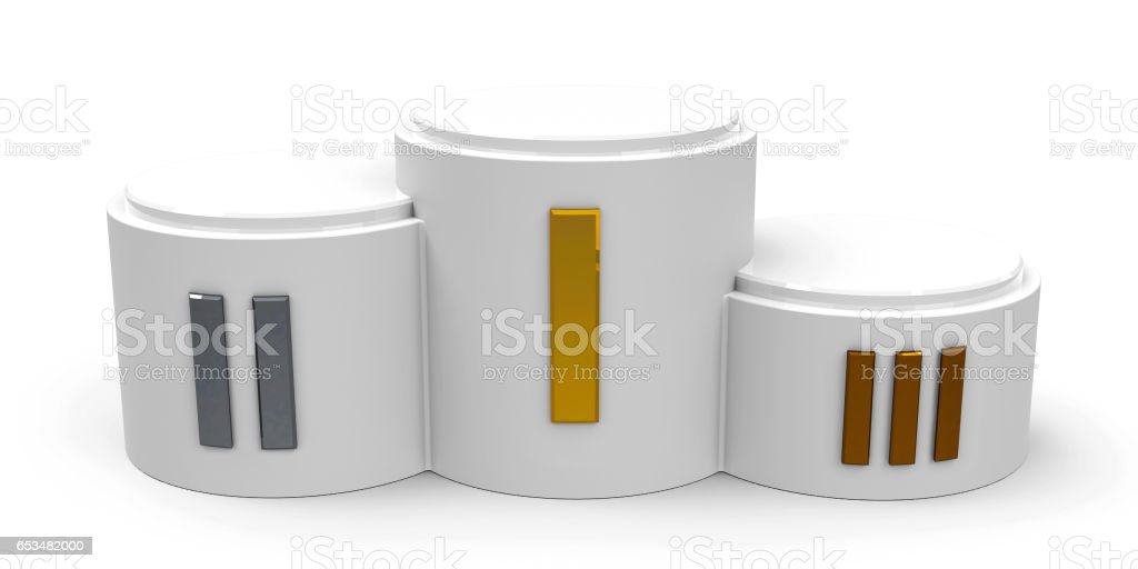 White cylinder podium roman stock photo