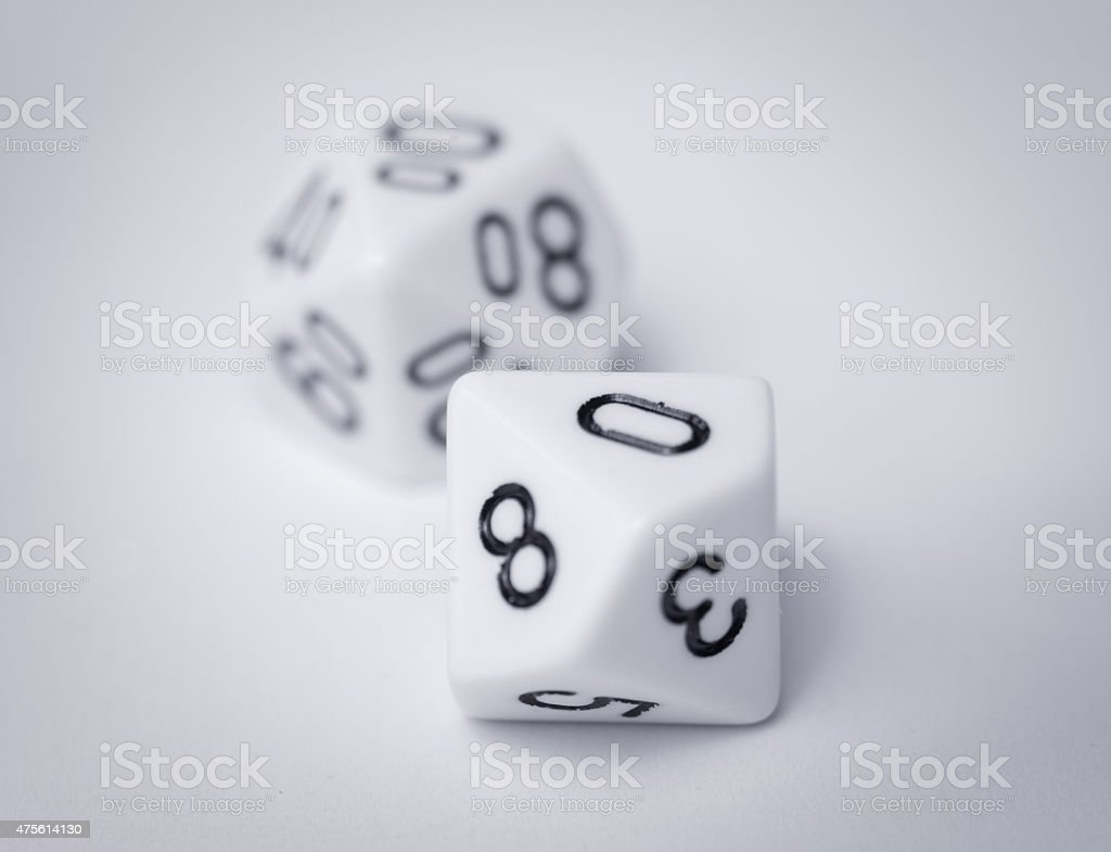 white d100 of two ten sided dice stock photo