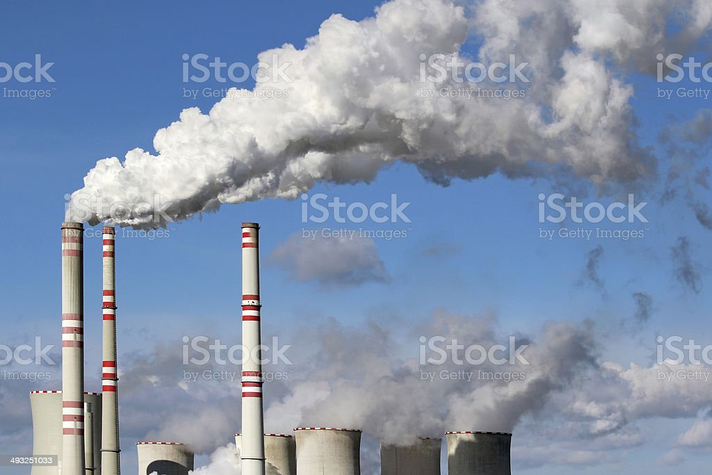 white danger smoke from coal power plant chimney stock photo