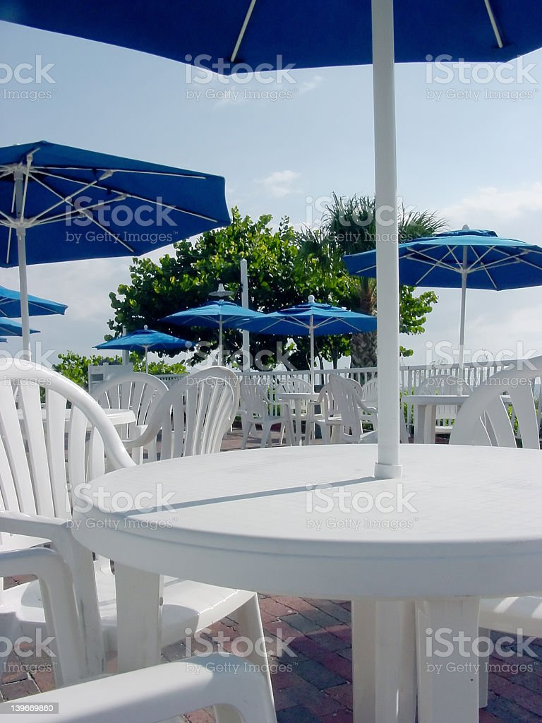 White Deck Tables 1 royalty-free stock photo