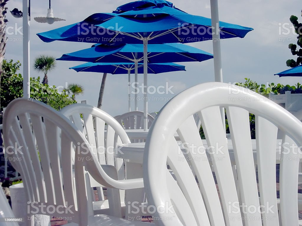White Deck Tables 2 royalty-free stock photo
