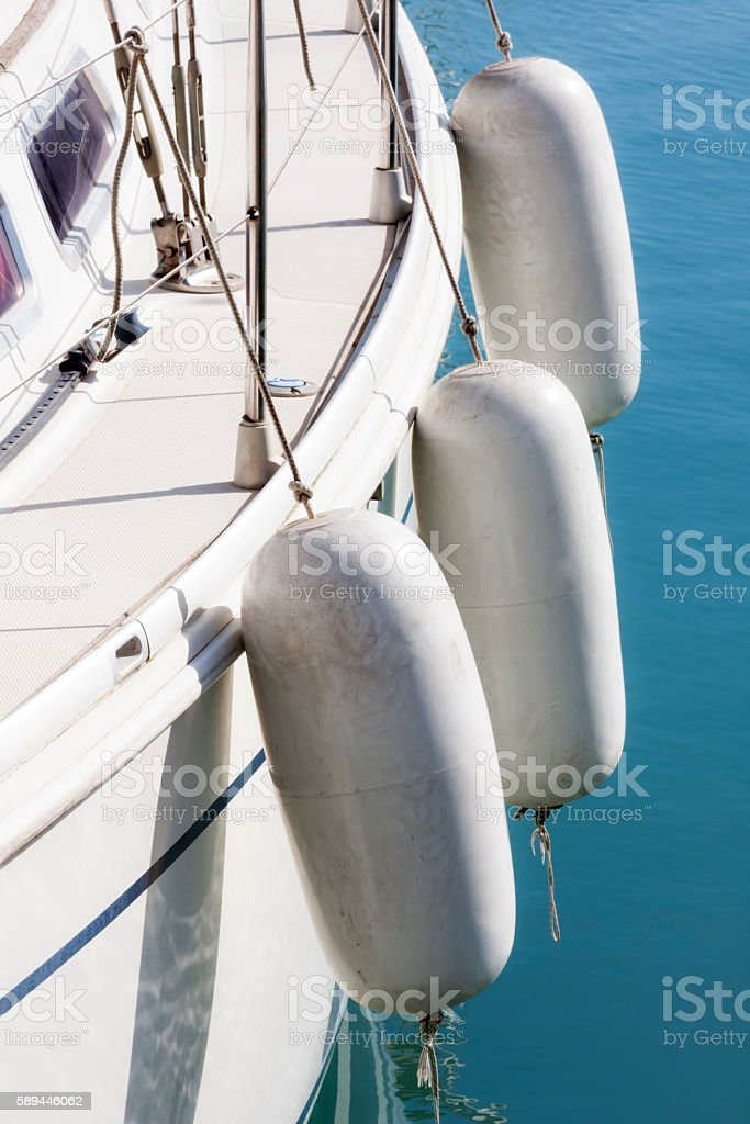 White deck with fenders stock photo