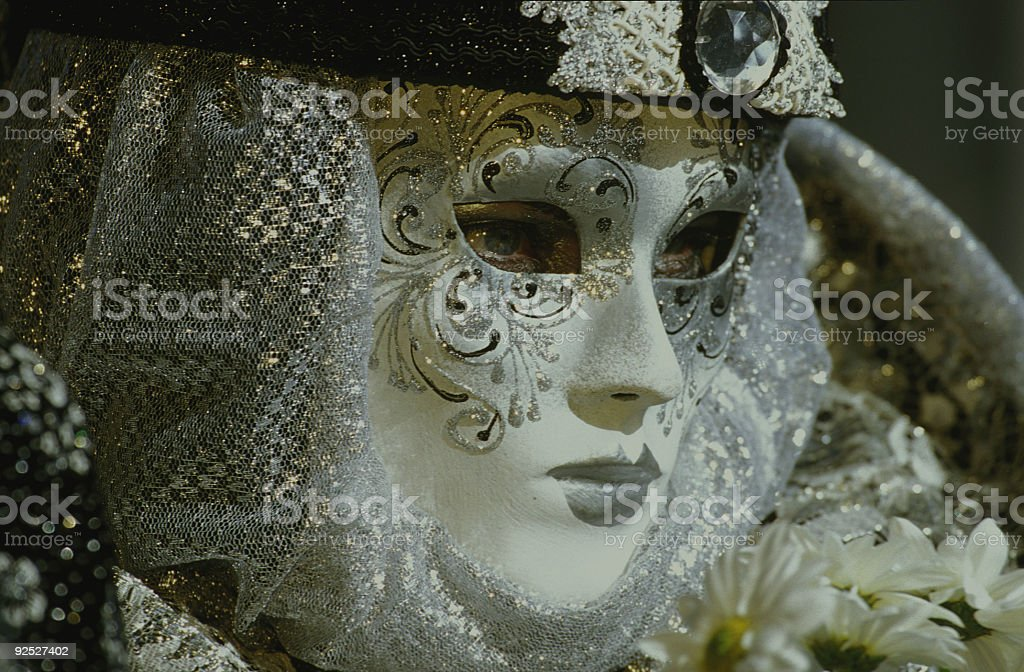 White decorated mask at carnival in Venice (XXL) royalty-free stock photo