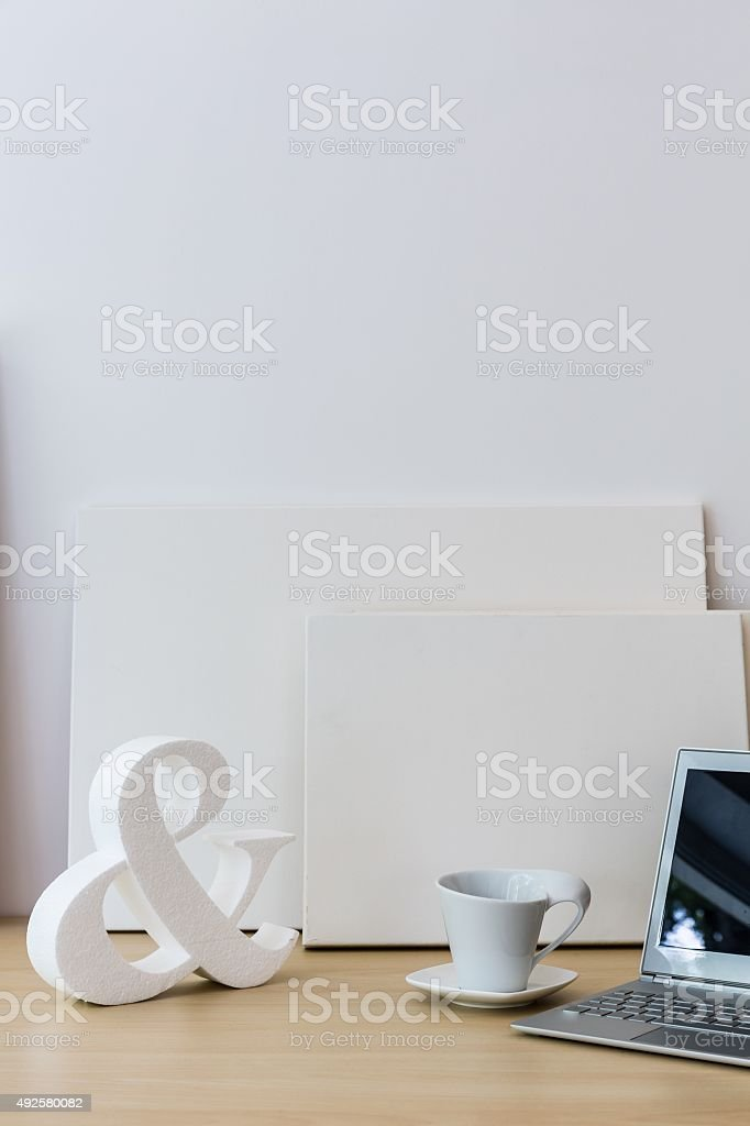 White decoration on table stock photo