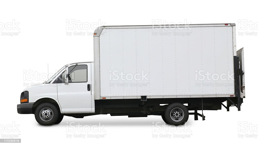 White delivery truck isolated on a white background stock photo
