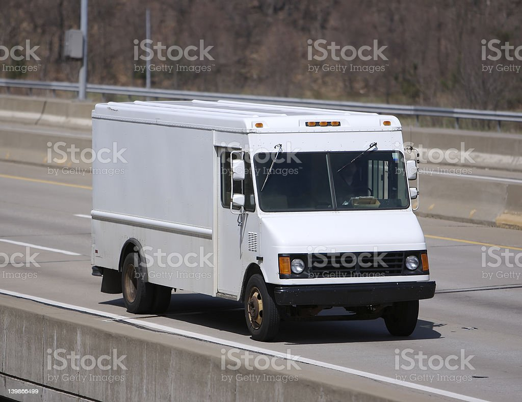 White Delivery Truck stock photo