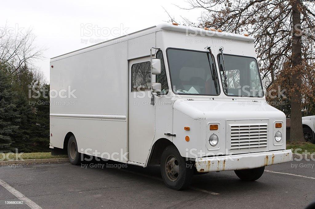 White Delivery Van stock photo