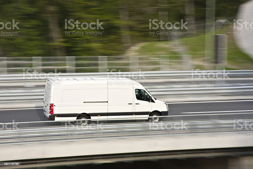 White delivery van stock photo