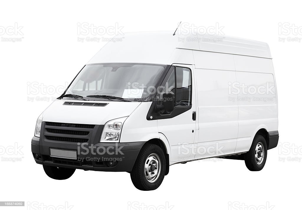 White delivery van with clean blank side isolated stock photo