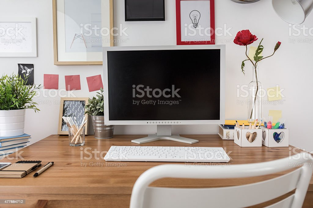 White desktop computer stock photo