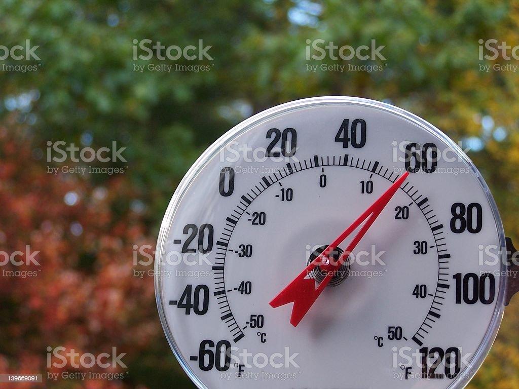 A white dial pointing to sixty degrees stock photo
