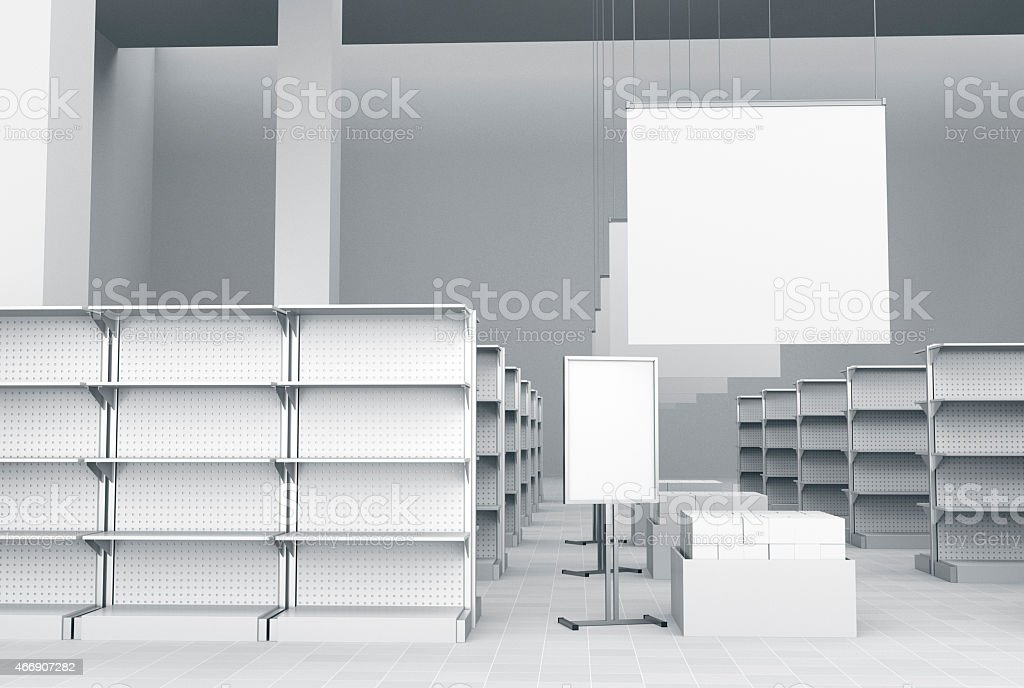 White digital image of storage spaces and screens stock photo