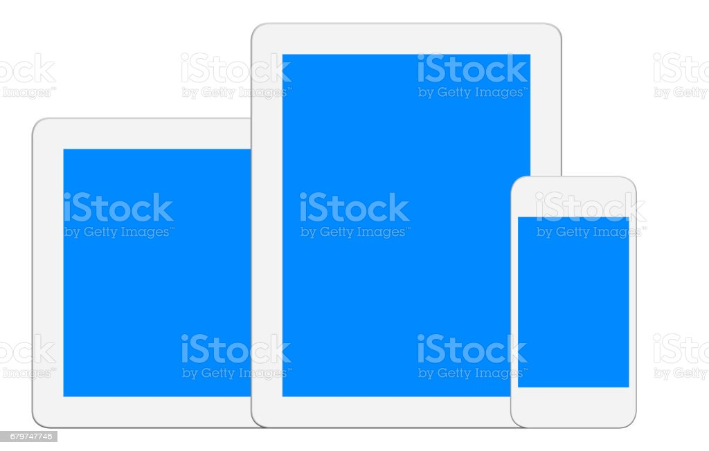 White Digital Tablet and Smart Phone - Clipping Path stock photo