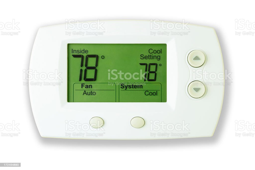 A white digital thermostat with lit display reads 78 degrees stock photo