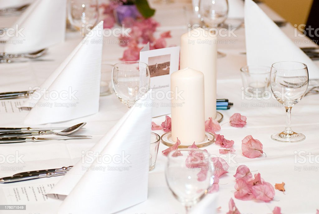 white dinner table ornament for wedding stock photo