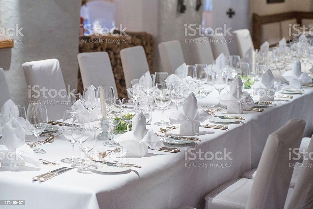 white dinner table ornament on wedding stock photo