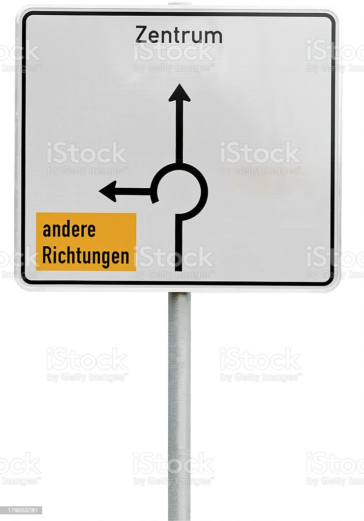 white direction sign (clipping path included) stock photo