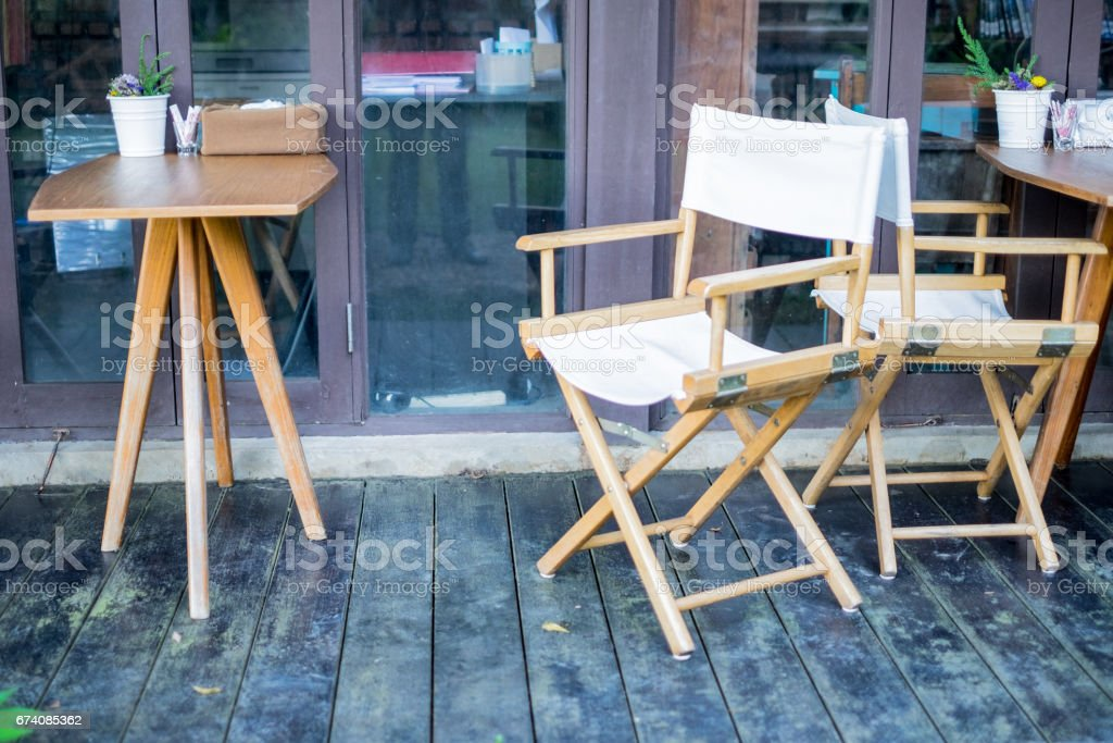 White directors chair apply for decoration in garden at home