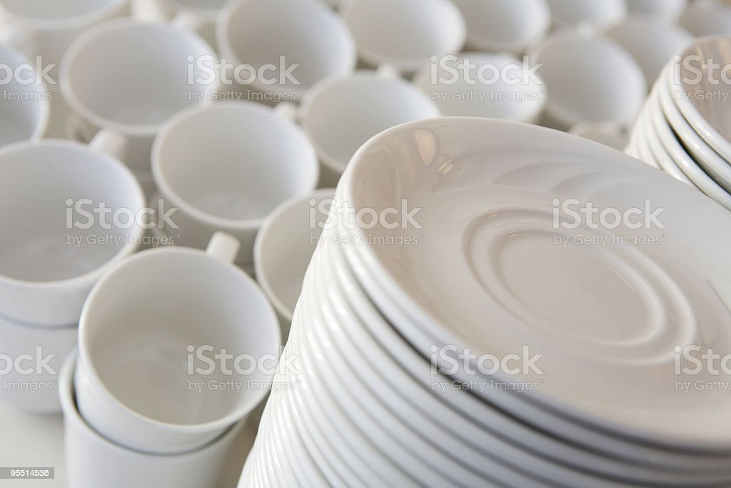 White dishes royalty-free stock photo