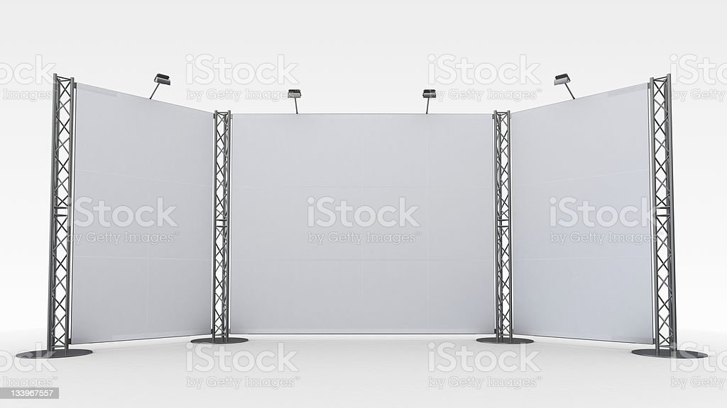 A white display stand in front of a white background stock photo