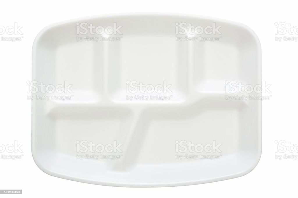 A white disposable plate with five compartments stock photo