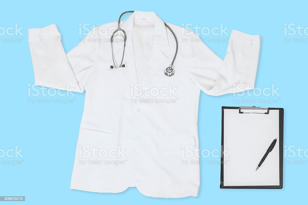 White doctor coat and clipboard stock photo