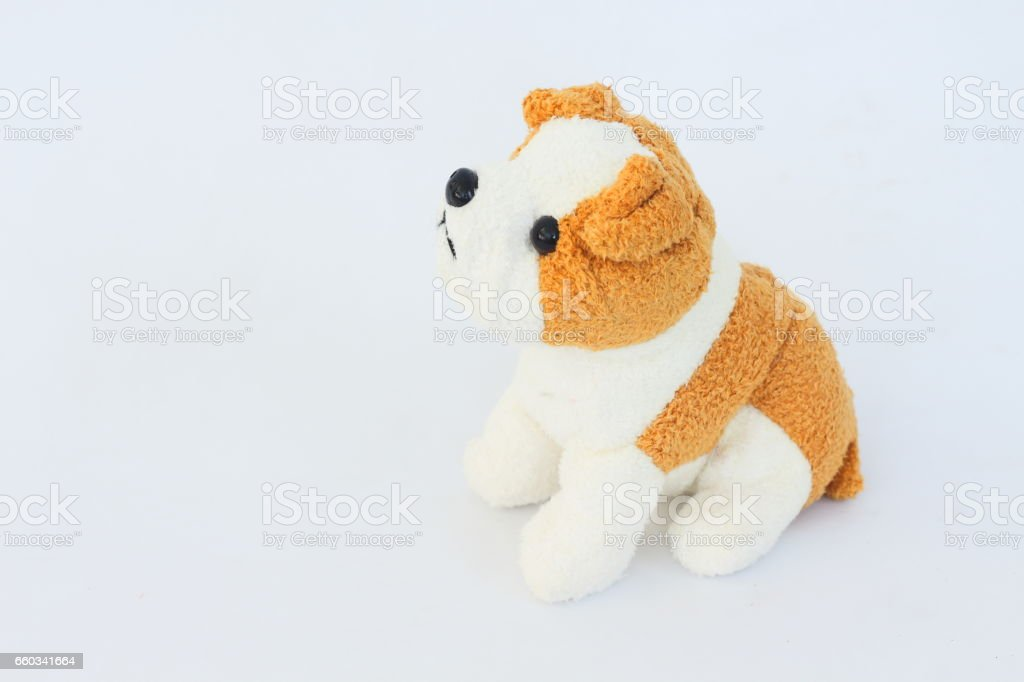 White dog doll with brown ears on white background. stock photo