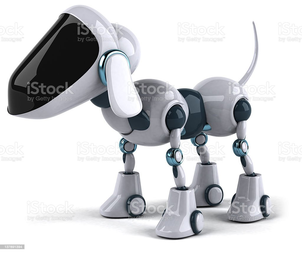 White dog robot standing, isolated on white background royalty-free stock photo
