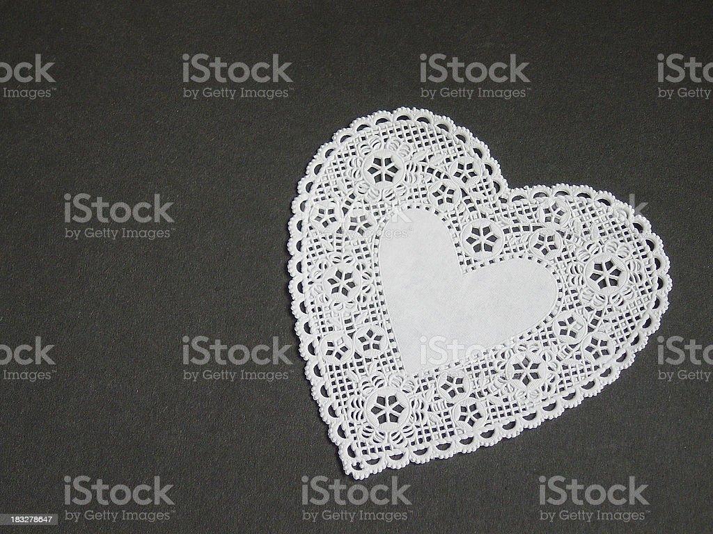 White Doily Heart stock photo