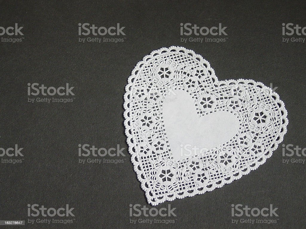 White Doily Heart stock photo