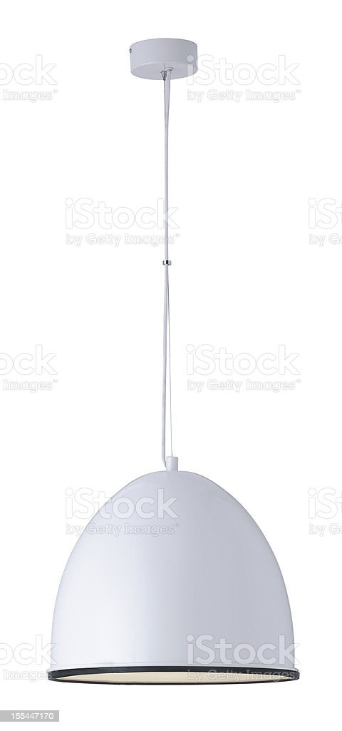 White dome ceiling light on a white background stock photo